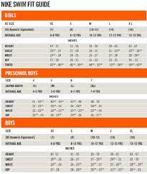 Nike Swim Short Size Chart