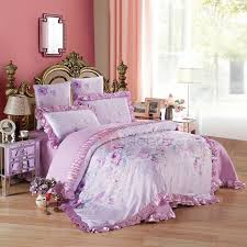 20 offwannaus purple flowers printed princess style 6 piece cotton sateen bedding sets duvet cover