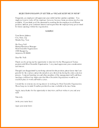 Follow Up After Job Interview And Rejection Sample Letter Juzdeco Com
