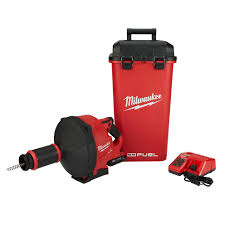 milwaukee m18 fuel 18 volt lithium ion cordless drain cleaning snake auger with 5 16 in cable drive tool only 2772a 20 the home depot
