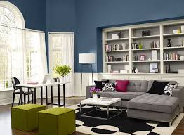 Modern living room with blue paint color scheme