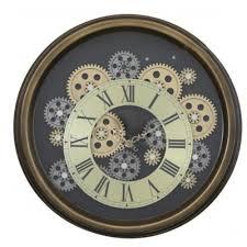 brown gears skeleton wall clock