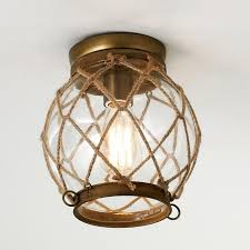 jute rope lattice aged brass finish hardware clear glass globe and pertaining to nautical flush mount light s97