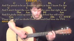 God Bless America Chord Chart God Bless The Usa Lee Greenwood Guitar Lesson Chord Chart Acoustic Instrumental