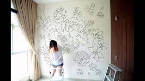 Floral - a sharpie wall mural - YouTube