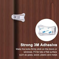 chilliyin 3m adhesive sliding door lock for patio closet windows rv baby proof child safety latch