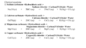 chemical equations chemistry notes acid bases and indicators revision reactions with bicarbonate