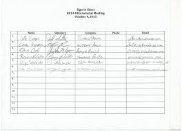 Sign Sheets Reta Ohio Meeting Sign In Sheets