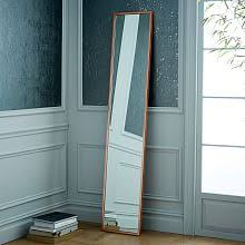 Full lenght mirror Rose Gold Metal Framed Narrow Floor Mirror West Elm Floor Mirrors Fulllength Mirrors West Elm