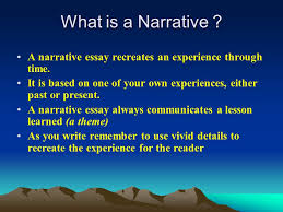 objective i will learn how to organize and write a narrative  what is a narrative a narrative essay recreates an experience through time