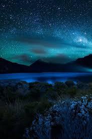 <b>Blue starry sky blue</b> sky night beautiful clouds <b>stars</b> mountains. I ...