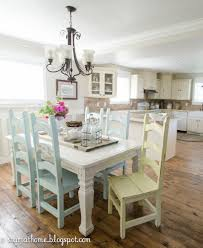 Distressed White Kitchen Table Country Cottage Painted Table And Chairs Mismatched And