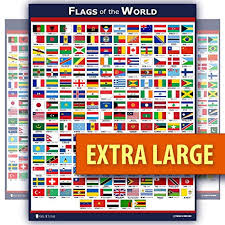 Flag Chart With Names World Flags Educational Poster Laminated Young N Refined 18x30