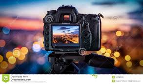 City Lights Video And Photography The Camera On The Background Blurry City Lights Stock Photo