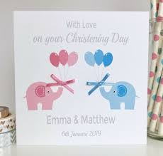 Baptism Cards Handmade Personalised Twins Christening Baptism Card With Pink Blue Elephants