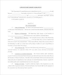 Limited Partnership Agreement Template Sample Partnership Dissolution Agreement Templates 7 Free Template