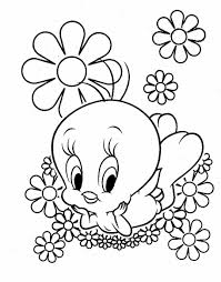 Cute Looney Tunes Tweety Bird Coloring Pages Cartoon Coloring