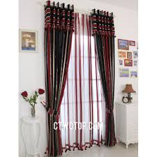 Silk Curtains For Living Room Bohemian Half Price Faux Silk Black And Red Striped Curtains