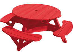 small round red recycled plastic picnic table with swing out bench for children ideas