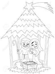 Kerst Kerststal Met Jozef En Maria Die Pasgeboren Jezus Slapen In