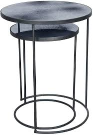 nesting side tables charcoal heavy aged mirror round nesting side table set nesting side tables uk