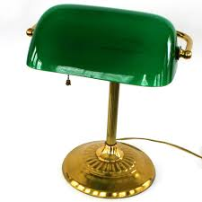 vintage bankers lamp brass glass kelly green by rhapsodyattic