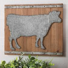 corrugated metal cow wall art antique