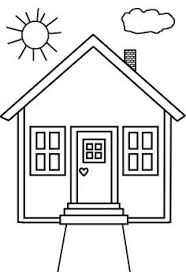 Small Picture House Coloring Page cut out shapes for windowsdoor etc for