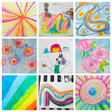 oil pastel painting with kids finished artworks