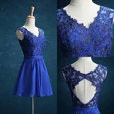 Cheap Short Blue Bridesmaid Dress Lace Chiffon Evening Dress V Neck Blackless Party Dress Knee Length Wedding Gown Designers After Six Bridesmaid