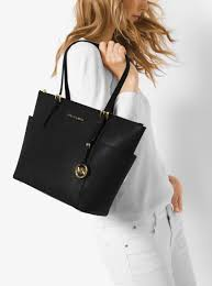 womens totes michael michael kors jet set large top zip saffiano leather tote black don terrario