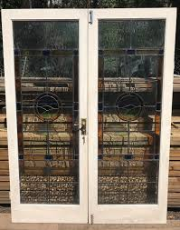 pair of reclaimed stained glass french doors sold