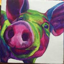 big pig canvas wall art