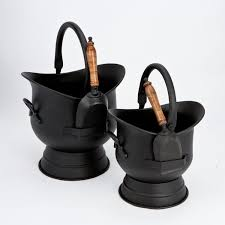 vintage antique ash bucket fireplace coal buckets set fireside tools with handle description coal buckets