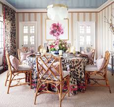 fl round skirted table rattan chippendale dining chairs striped walls dining room blue lacquer ceiling