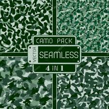 Oorlog Groen Bos Camouflage Pack 4 In 1 Naadloze Vector Patroon Kan