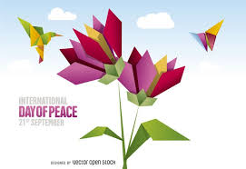 International Day of Peace design featuring origami flowers and ...