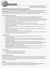 Office Manager Job Description For Resume Unique Business