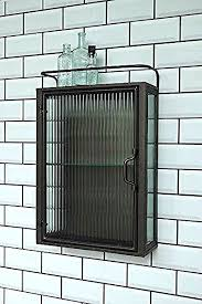 industrial fluted glass wall cabinet