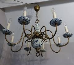 beautiful vintage dutch flemish brass blue white delft porcelain chandelier