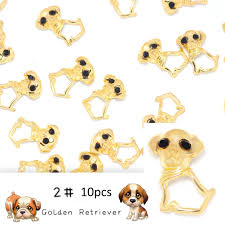 Dog Design Jewelry 10pcs Lot Gold Black Cute Dog Design 3d Rhinestones Nails Art Decorations Diy Manicure Nail Jewelry Accessories Alloy Studs