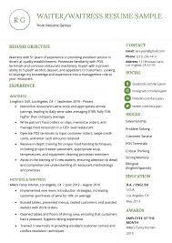Resume Waiter Waitress Resume Example Template