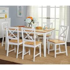 Simple Living Crossback White/ Natural 7-piece Dining Set Shop - On