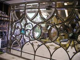 abstract leaded glass window with bevels custom all bevel fluer di lis window