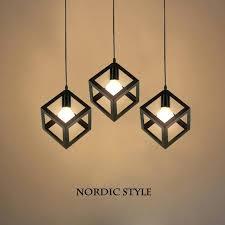 square pendant light minimalist style square pendant lamp led light three head retro iron art pendant