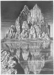 pencil sketch of hills in the water