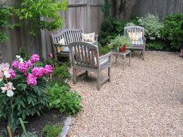 stone patio loaded potted plants