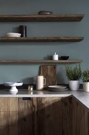 dark wood furniture. Dark Wood Kitchen Cabinetry With Moody Grey Green Walls And Matching Floating Shelving - Love This Dark, Rich, Minimalist Design. Furniture