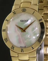 gucci mens gold electroplate 3300 2 m pre owned mens watches