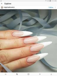 French Tip Stiletto Nail Designs French Manicure Stiletto French Manicure Acrylic Nails